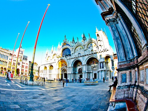 Venice Landmarks - St Mark's Square, basilica and clock tower