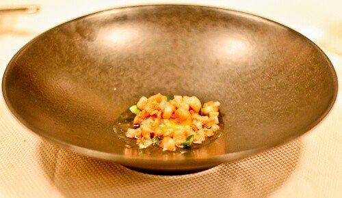 JB Restaurant Ljubljana, Slovenia - Travel Blogger Review. Egg Yolk Fried in Homemade Cracklings, Parsnips Cream and Lovage
