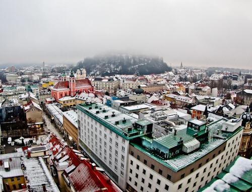 Neboticnik Skyscraper bar and cafe, Ljubljana, view of the city