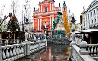 Franciscan Church of the Annunciation and Preseren Square, Triple Bridge, Ljubljana, Slovenia