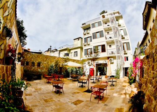 Patron Boutique Hotel - Antalya Turkey Hotels - courtyard and fountain