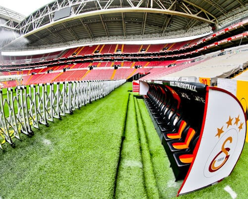 Galatasaray - Stadium Tour - Turk Telekom Stadium - pitch side - dugout