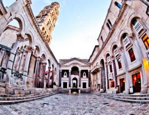 Diocletian's Palace - UNESCO world heritage site in Split Croatia - Peristyle Courtyard