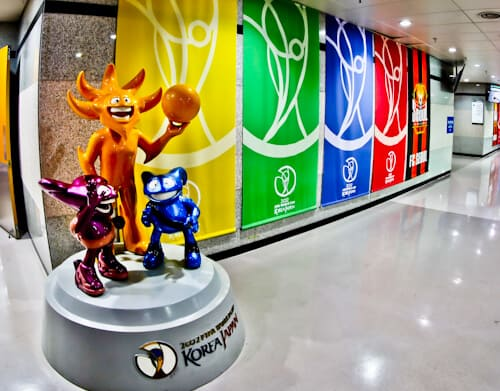Seoul World Cup Stadium Tour - South Korea - World Cup History - 2002 mascot, Ato, Kaz and Nik (The Spheriks)