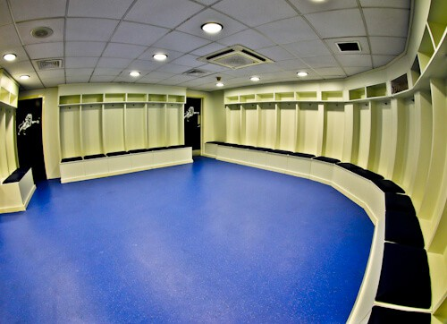 Millwall Stadium Tour - The Den, Millwall FC Ground - Home team dressing room