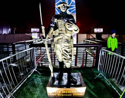 Tynecastle Park - Hearts FC Matchday Experience and Stadium Tour - Edinburgh - World War I Statue