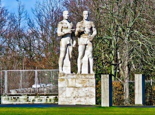 Olympiastadion - Berlin Olympic Stadium Tour - Relay Runners Nazi Era Sculpture