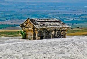 Pamukkale Turkey - Hierapolis Mausoleum in Travertine