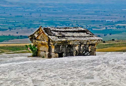 Pamukkale Turkey - Hierapolis Mausoleum in Travertine