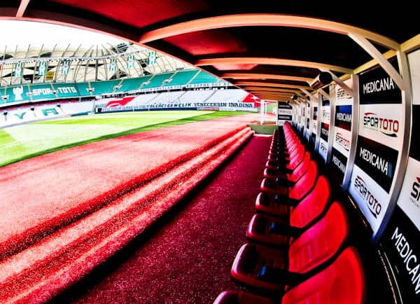Konyaspor Stadium Tour - Konya Turkey - Dugout and Pitchside