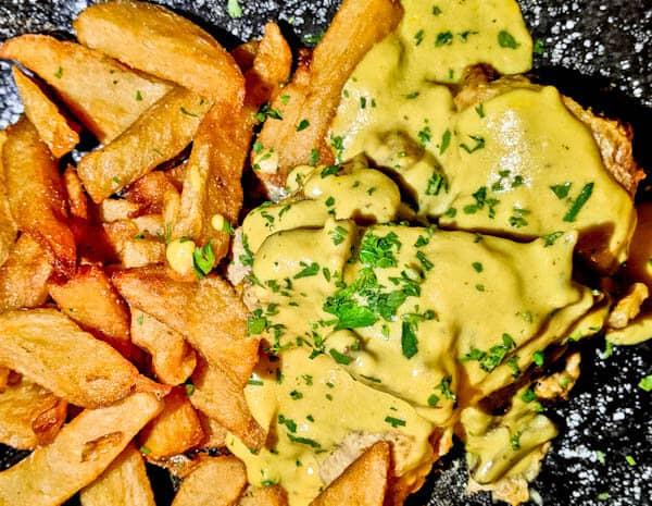 Manolis Tastes - Greek Restaurant Bar Cafe - Lipsi Island - Pork with Chips