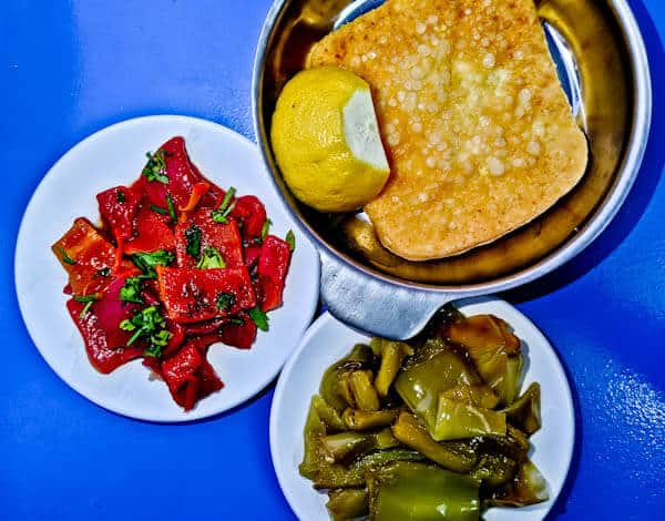Greek Ouzeri Restaurant Experience + Photos - Fried Feta, Red Peppers, Green Peppers