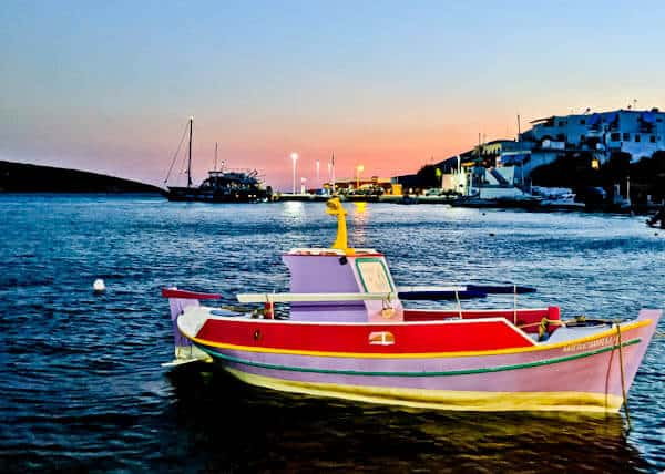 Yiannis Restaurant - Greek Food - Lipsi Island Greece - Iconic Pink Boat in Lipsi Harbor