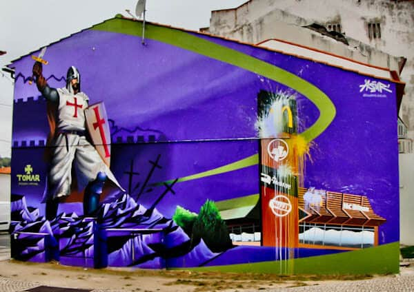 Things to do in Tomar Portugal - Knights Templars Inspired Street Art