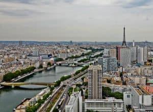 Paris Panoramic View - Eiffel Tower and River Seine