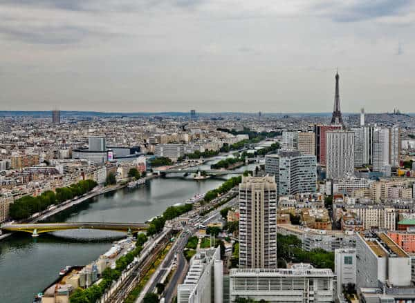 Paris Panoramic View - Eiffel Tower and River Seine