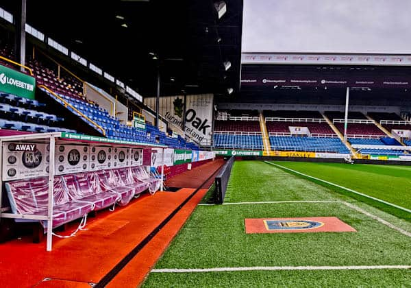 Burnley FC Pitch side and Dugouts