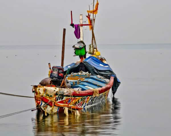 Colorful Fishing Boats on Banjul Beach