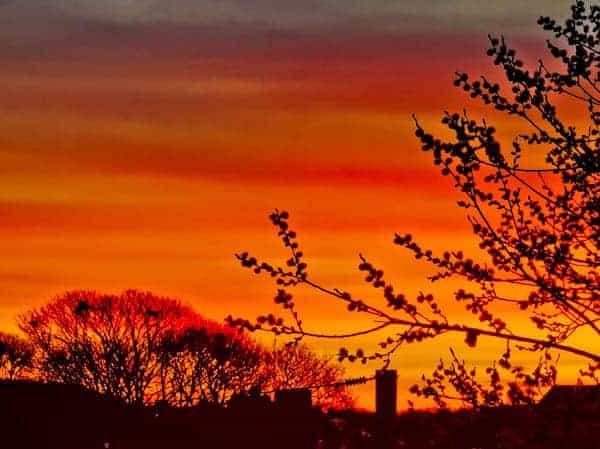 Orange sky illuminates Skipton