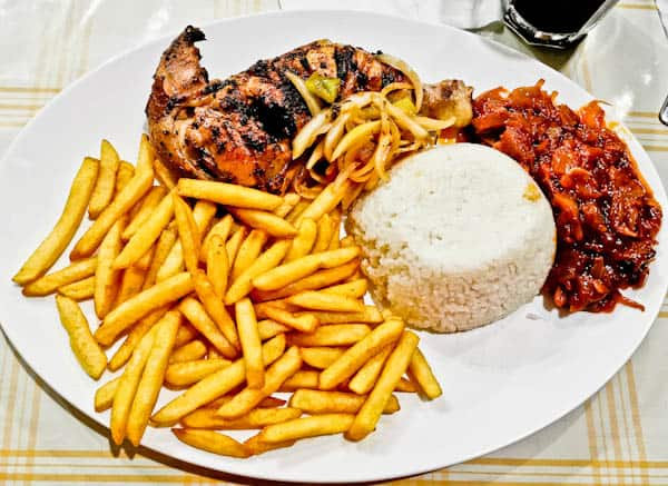 Chicken and chips in Conakry
