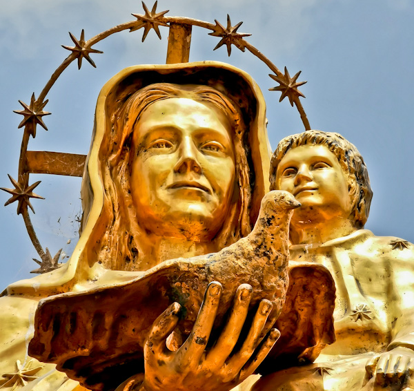 Baby Jesus and Mary Gold Statue