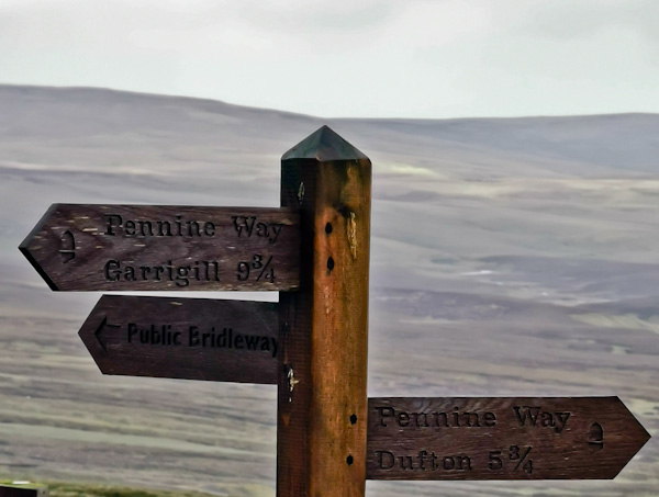 Pennine Way Sign on Great Dun Fell