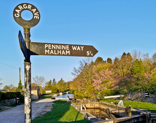 Pennine Way Sign on the Leeds Liverpool Canal
